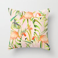 Sorbet Flamingo palms Throw Pillow