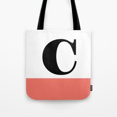 Monogram Letter C-Pantone-Peach Echo Tote Bag
