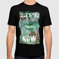 Life Starts Now Mens Fitted Tee Black SMALL