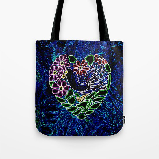 Gothic Bird in Heart Tote Bag