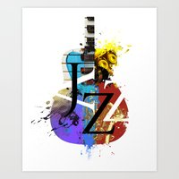 Jazz Guitar Art Print