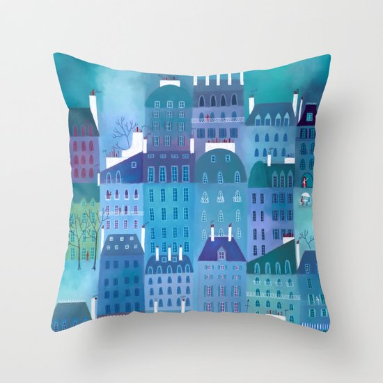 Paris Blues Throw Pillow