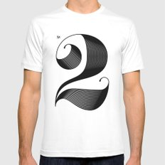 No. 2 SMALL White Mens Fitted Tee