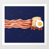 Nyan Bacon Art Print