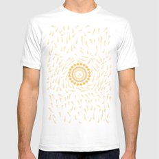 Leaf Mandala Mens Fitted Tee White SMALL
