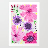 Pinks - Botanical Flower… Art Print