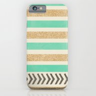 MINT AND GOLD STRIPES AN… iPhone 6 Slim Case