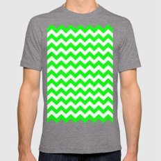 Chevron (Green/White) Mens Fitted Tee Tri-Grey SMALL