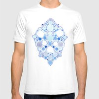 Blue Watercolor Dots Mens Fitted Tee White SMALL