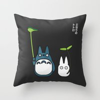 Chu & Chibi Totoro Pop art - Black Version Throw Pillow