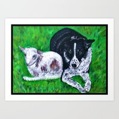 Kay and her little lamb Art Print