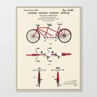 Tandem Bicycle Patent Canvas Print