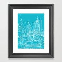 New York! Blueprint Framed Art Print