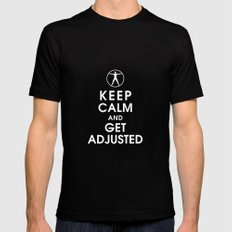 Keep Calm and Get Adjusted (chiropractor) Mens Fitted Tee Black SMALL