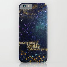 Leave a little sparkle wherever you go - gold glitter Typography on dark space backround iPhone 6s Slim Case