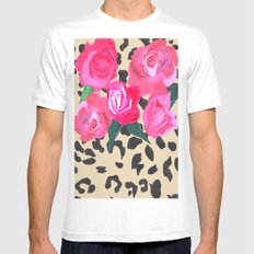 Roses and Leopard Print Mens Fitted Tee SMALL White