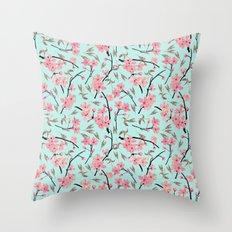 Cherry Blossom Pattern(sky) Throw Pillow
