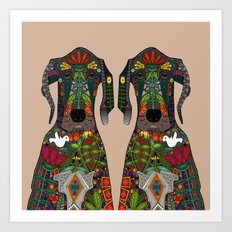 Great Dane Love Beige Art Print