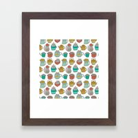 Pattern Project #5 / Cats and Pots Framed Art Print