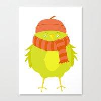 Winter Bird: Green Canvas Print