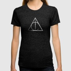 Deathly Hallows (Harry Potter) Womens Fitted Tee Tri-Black SMALL