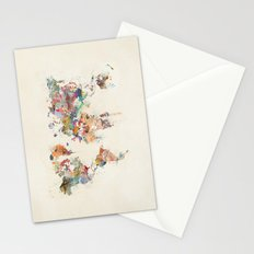 world map watercolour Stationery Cards