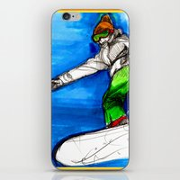 Snowboarder girl iPhone & iPod Skin