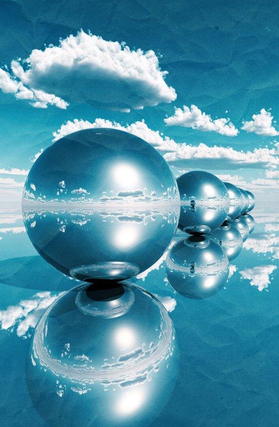 blue spheres in line paper Art Print
