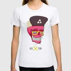 Hell Yeah Skull 2 Womens Fitted Tee Ash Grey SMALL