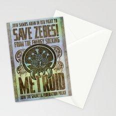Save Zebes! Metroid Geek Art Vintage Poster Stationery Cards