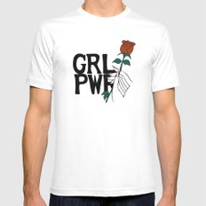 GRL PWR Rose SMALL Mens Fitted Tee White