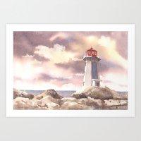 Lighthouse Painting, Coa… Art Print