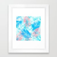 Bright pink blue watercolor palm tree leaf pattern Framed Art Print