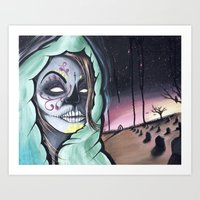 Dia De Los Muertos themed painting by Adam Valentino Art Print
