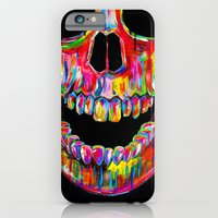 iPhone Cases featuring Chromatic Skull by John Filipe