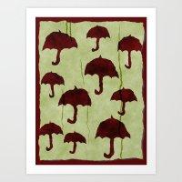 Umbrellos Art Print