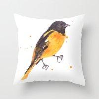 Baltimore Oriole, Bird paintings, black and orange, american birds, ornithologist pillow Throw Pillow