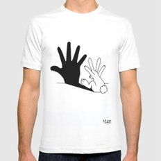 Rabbit Hand Shadow Mens Fitted Tee White SMALL