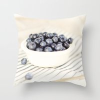 Scalloped Cup Full of Blueberries - Kitchen Decor Throw Pillow