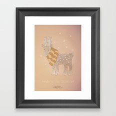 Christmas creatures- The Cozy Deer Framed Art Print
