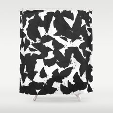 Black Bird Wings on White Shower Curtain