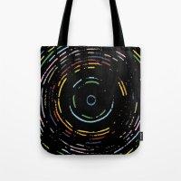 Rainbow Record On Black … Tote Bag