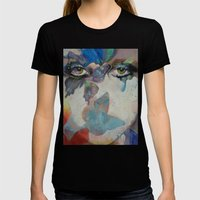 Gothic Butterflies Womens Fitted Tee Black SMALL