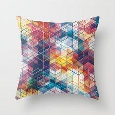 Cuben Curved #5 Geometric Art Print. Throw Pillow