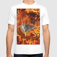Dolphin  SMALL White Mens Fitted Tee