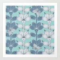 WHITE AND BLUE FLOWERS Art Print