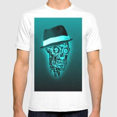 Elegant Skull with hat,mint SMALL Mens Fitted Tee White