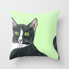 Black and White Cat  Throw Pillow