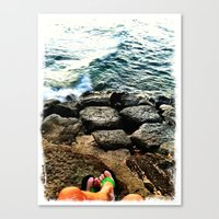Canvas Print featuring Green Slippers by atwice