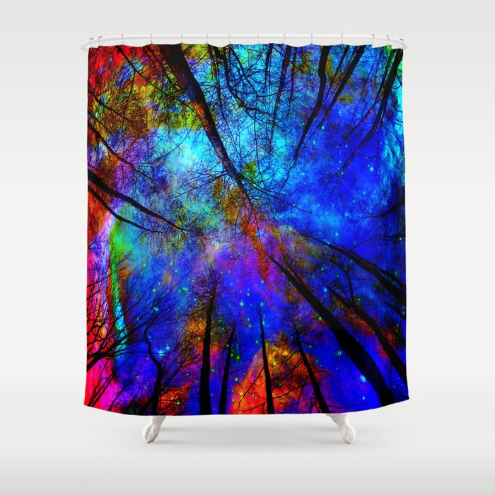 Colorful forest shower curtain by haroulita society6 Colorful shower curtains
